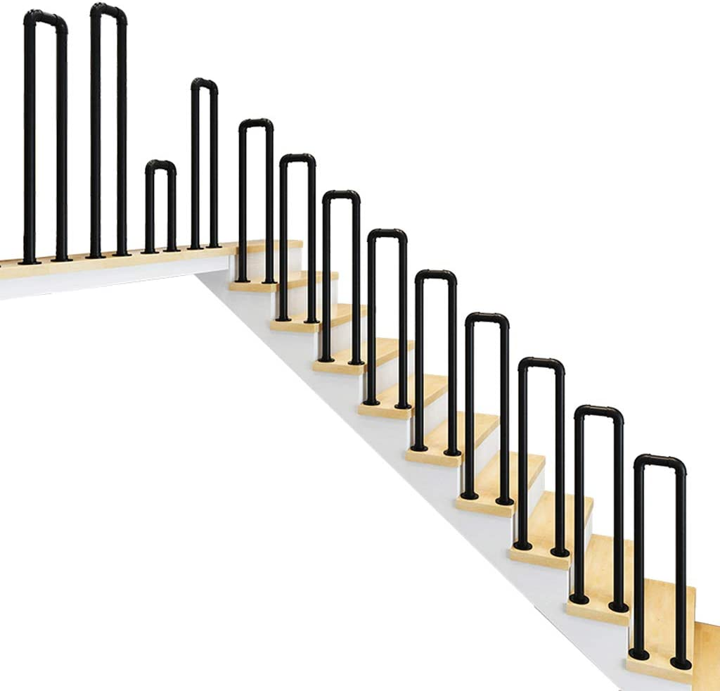 YUDE-U Barandilla de Escalera de Hierro Forjado Tipo, tubería galvanizada, barandilla de Seguridad con Forma de tubería de Agua Personalizada, Adecuada para escaleras, Barra