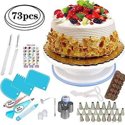 DIY Cake Decorating Supplies Kit, 73pcs Cake Decorating Supplies with Turntable More Stable with Silicone Anti-slip Ring, Durable Baking Decorating Supplies Cake Decorating Tools for Mother & kids