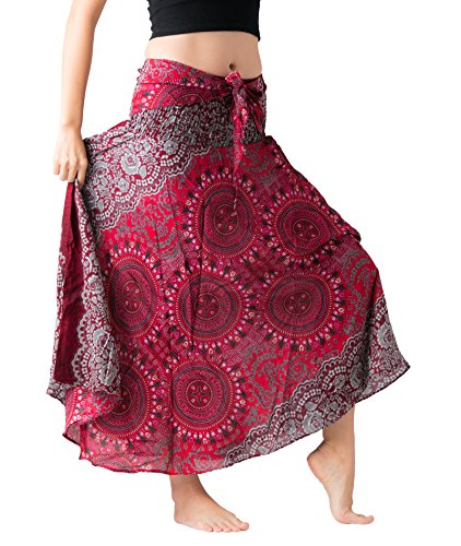 Bangkokpants Women's Long Hippie Bohemian Skirt Gypsy Dress Boho Clothes Flowers One Size Fits (Bohorose Red, Plus Size)