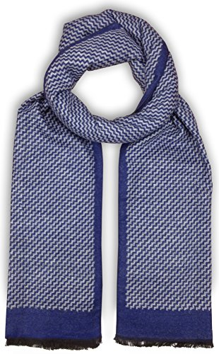 Bleu Nero Luxurious Winter Scarf Premium Cashmere Feel Unique Design Selection (Blue/Grey Diagonal Zigzag + Border)