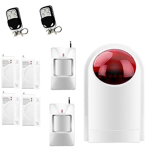 ECTECH Kit de Seguridad - Kit Alarma de Hogar - Sistema de Alarma antirrobo inalmbrico con Unidad de Sirena - 4 sensores de Puerta de Ventana, 2 ...