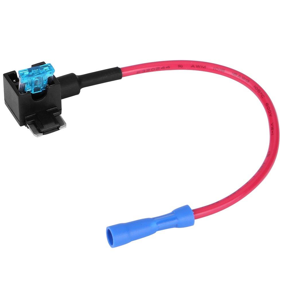 Coche A/ñadir un circuito Fusible Tap Keenso Auto Fuse Adapter Blade Fuse Holder con 15A Blade Fuse Pack de 5 Micro Mini