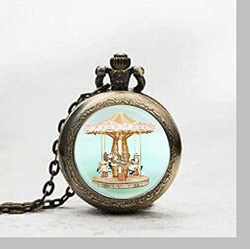 Merry Go Round Pendant Pocket Watch ,Vintage Carousel Horse Necklace Pocket Watch Charm, Circus Pendant Pocket Watch Glass Tile Jewelry,glass Carnival Art Watch,carnival Art Potphoto