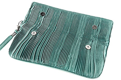 Borsetta donna JEAN MARTEN pochette acqua marina + doppia apertura calamita N517