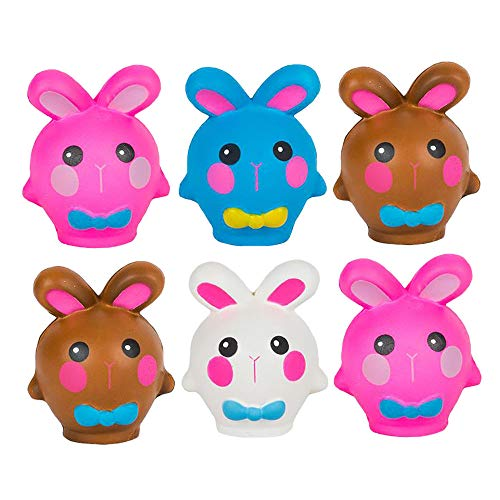 """Easter Squish Bunny - Pack of 6 3"""" Slow Rising Toy in Assorted Colors - Relieves Anxiety and Stress, Sensory Toy, for Party Giveaways and Treasure Chest Filler ()"""