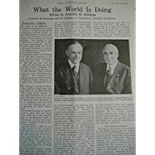 Article: What the World is Doing Highlights: Calvin Coolidge with Warren G. Harding; Belleau Memorial Park; Great Britain-Lord Curzon's Note; O'Shaughnessy Dam; Six-Storied Air Cycle; Mabel Strickland At Yankee Stadium; British India