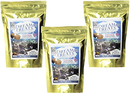 Wysong Dream Treats, 3 125-Gram Bags, Chicken Flavor Raw Treats for Dogs Cats and Ferrets ()