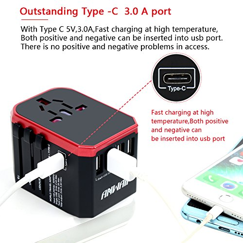 Anwaii Universal Travel Adapter International Travel Plug Adapter- Worldwide Wall Charger AC Power Plug Adapter- 5.6A 5 USB 3.0A Type-C Ports for Cell Phone Laptop Tablet works in US EU UK AUS