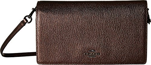 Bronze Pebbled Leather - COACH Women's Polished Pebbled Leather Fold-Over Crossbody DK/Bronze Cross Body