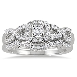 AGS Certified 3/4 Carat TW Diamond Infinity Bridal Set in 10K White Gold (K L Color, I2 I3 Clarity)