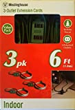 3pk Westinghouse Green 3-outlet Indoor Extension Power Cord - 6'