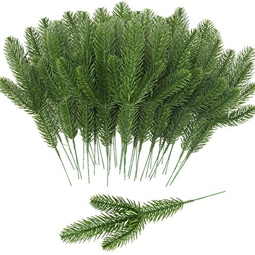 MHMJON 32 PCS Artificial Pine Green Leaves Needle Garland Fake Pine Picks DIY Craft Wreath for Christmas Winter Wedding Decoration and Home Garden Decor (Wholesale Wreath Decorations Christmas)