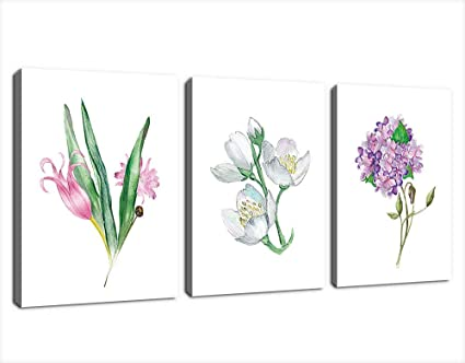 Canvas Wall Art Flowers Painting Picture Prints Simplicity Colorful Blossom Canvas Artwork Simple Life Watercolor Contemporary Wall Art For Office