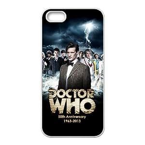 Doctor Who 50th Anniversary Funda iPhone 5 5s Funda Caja del teléfono celular blanco W5S5NR