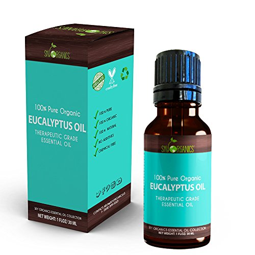 Therapeutic Rubs (Best Eucalyptus Essential Oil By Sky Organics-100% Organic, Pure Therapeutic Grade Oil For Diffuser, Aromatherapy, Massage Oil, Allergies, Headaches, Joint Pain - Scented Oil For Candles and DIY -1oz)
