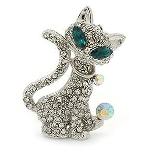 """Broche de bola y collar de cristal """"Gato lindo con ojos verdes"""" en platinado de rodio"""