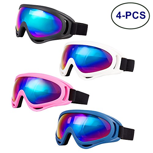 LJDJ Ski Goggles, Pack of 4 - Snowboard Adjustable UV 400 Protective Motorcycle Goggles Outdoor Sports Tactical Glasses Dust-proof Combat Military Sunglasses for Kids, Boys, Girls, Youth, Men, Women … - Youth Snowboard Packages