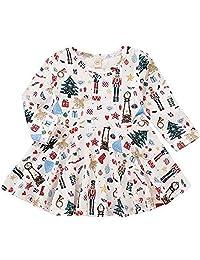EGELEXY Toddler Baby Girl Christmas Dress Floral Cartoon Deer Tree Long Sleeve Dress