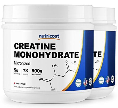 Nutricost Creatine Monohydrate 500 Grams Fruit Punch 2 Pack