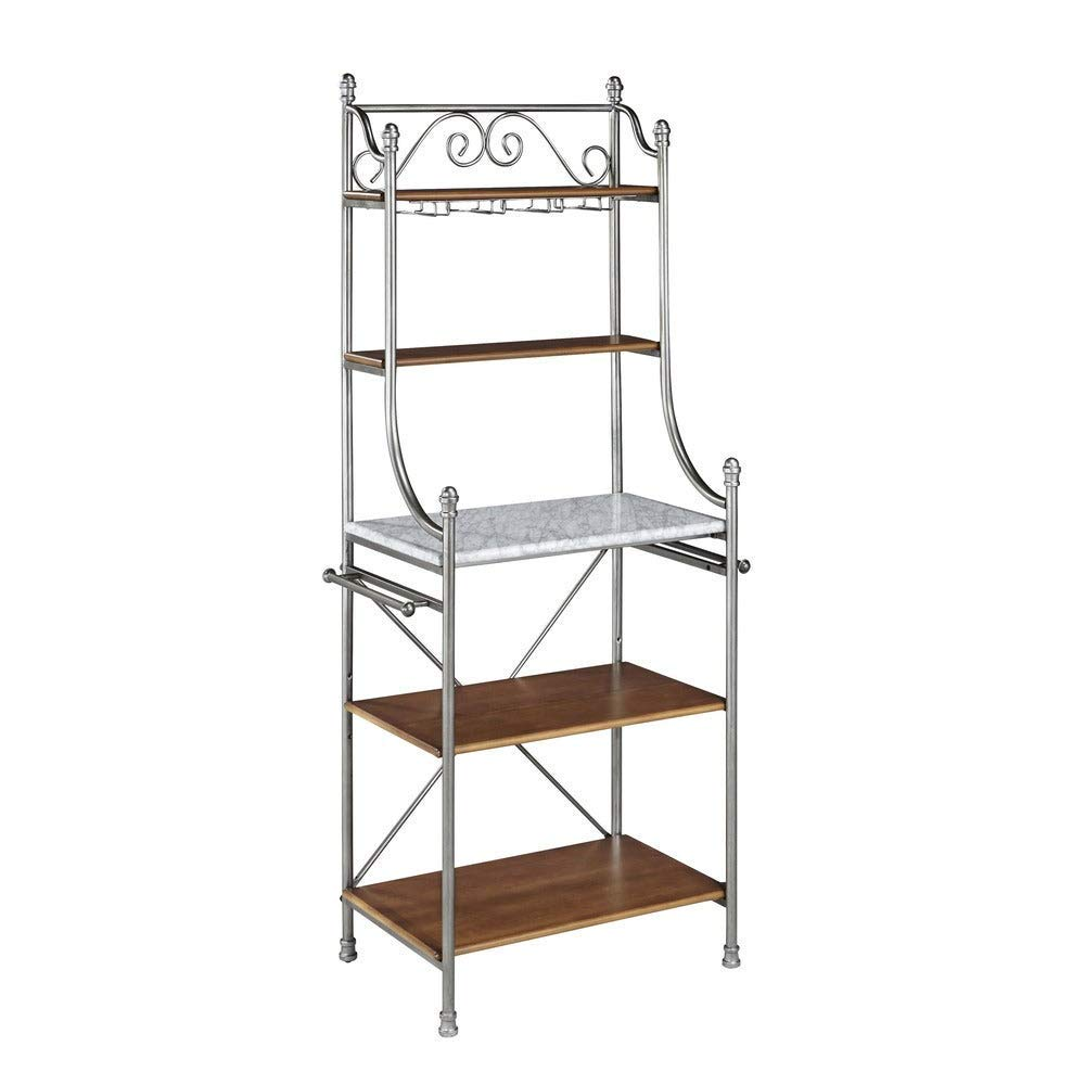 Copper Grove Marble and Wooden Slabs Metal Baker's Rack with Wine Glass Storage by Copper Grove