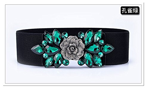 LONFENNE Inlaid rhinestone sequins beads elastic flower elastic waist gown dress decorative belt female belt,Malachite green,63cm (Malachite Belt)
