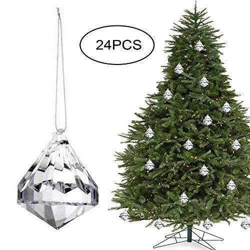 HOHIYA Acrylic Crystal Christmas Tree Ornament Dangle Drop Ball Decorations (Clear,Pack of 24)