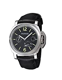 WhatsWatch 44mm parnis black dial date leather power reserve automatic Military mens watch PA-042