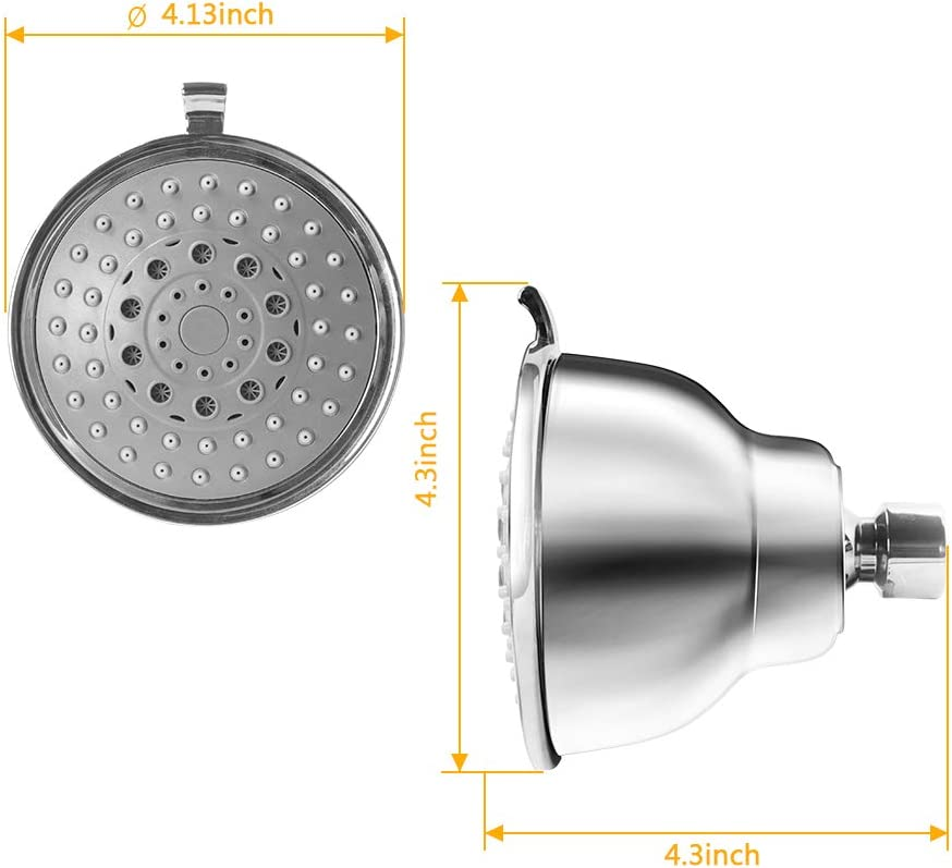 Easy Installation Prevents Clogging and Leaks Be Applicable Low Pressure and Water Flow Rain Shower Head 4 Inch High Pressure ShowerHead Functional 5 Setting Stainless Steel Showerhead