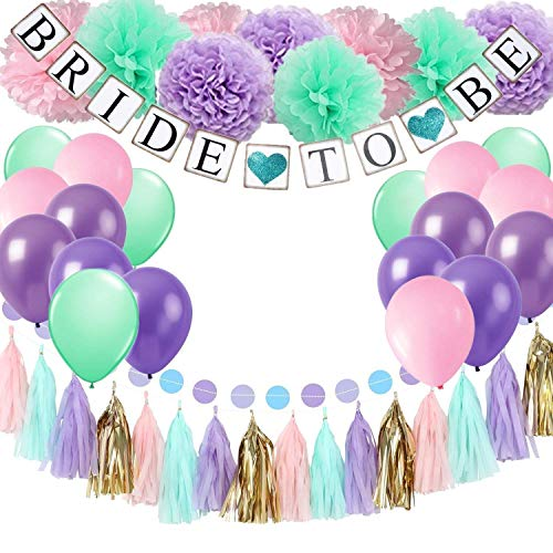 Teal Bridal Shower Decorations Kit - Pink Mint Purple Tissue Pom Poms Tassel Garland Teal Bride to Be Banner Mermaid Confetti Table Decorations for Bachelorette Party Bridal Shower Wedding Engagement -
