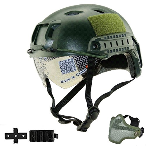 Mask Adapter - iMeshbean Airsoft Swat Helmet Combat Fast Helmet with w/Protective Goggles and Wing-Loc Adapter as Gift,Low Version Half Mask (Green with Mask)