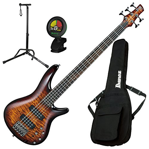 - Ibanez SR405EQM SR 5-String Dragon Eye Burst Electric Bass Guitar with Gig Bag, Stand, and Tuner