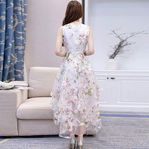 HP95 Women's Summer Elegant Organza Dress Floral Print Round Neck Sleeveless Layered Puff Slim Waist Wedding Party Ball Prom Gown Cocktail Swing Dress