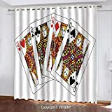 Satin Grommet Window Curtains Drapes [ Queen,Queens Poker Set Faces Hearts and Spades Gambling Theme Symbols Playing Cards,Black Red Yellow ] Window Curtain for Living Room Bedroom Dorm Room Classroom
