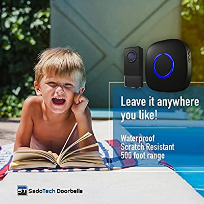 SadoTech Model C Waterproof Wireless Doorbell Operating at over 500-feet Range with Over 50 Chimes, IP68 Waterproof Remote Button, (Various Colors)