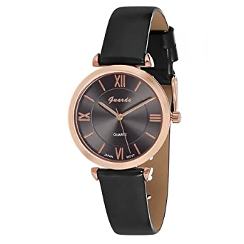 Guardo Womens Liscio Dark Gray and Rose Gold-Tone Eco-Leather Fashion Watch (