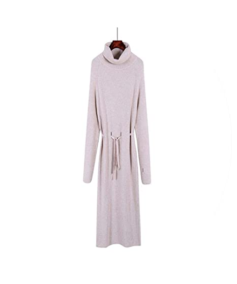 00c76947b80c Loose Sweater Long Dress Women Autumn Winter Hole Long Pullover Knitted  Dress Warm Sweaters,Beige