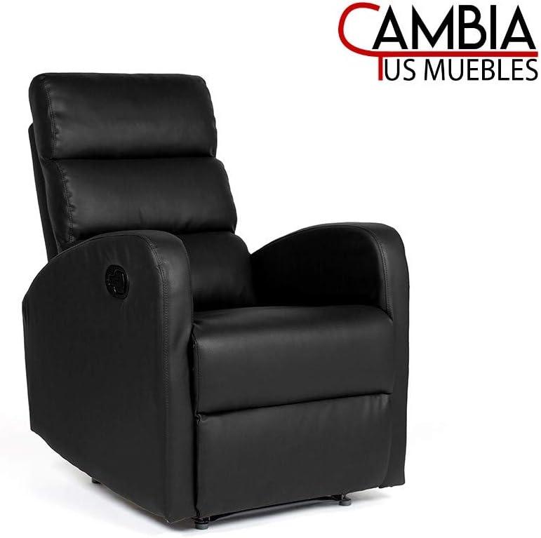 CAMBIA TUS MUEBLES - Sillón Relax Ginger, butaca reclinable con reposapiés Sistema automático con Palanca en Polipiel Color Negro