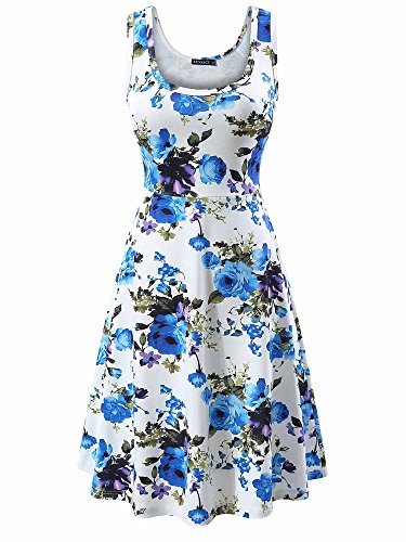 FENSACE Women's Sleeveless Scoop Neck Summer Beach Midi Flared Tank Dress (Large, (Spring Fashion Dresses)