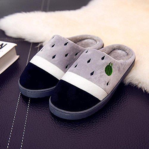 Fankou il creative paio di pantofole di cotone uomini pacchetto con linverno piscina home dormire scarpe Jane ha un antiscivolo tendenza moda ,43-44, grigio
