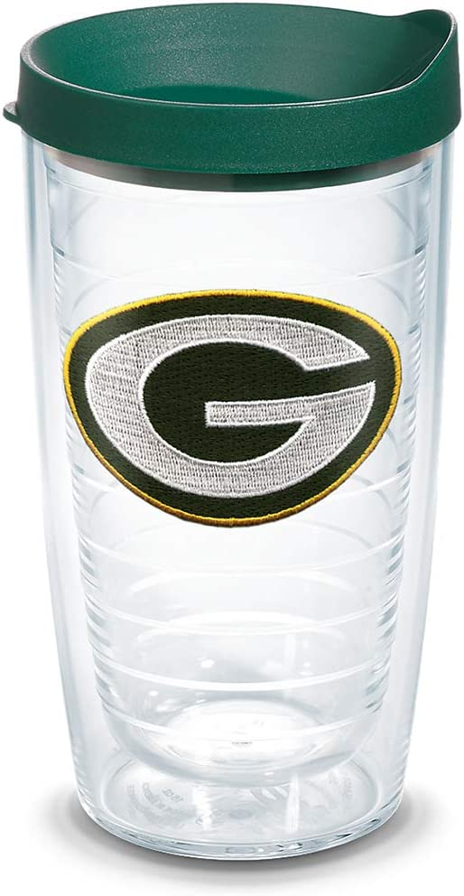 Tervis NFL Green Bay Packers Primary Logo Tumbler with Emblem and Hunter Green Lid 16oz, Clear