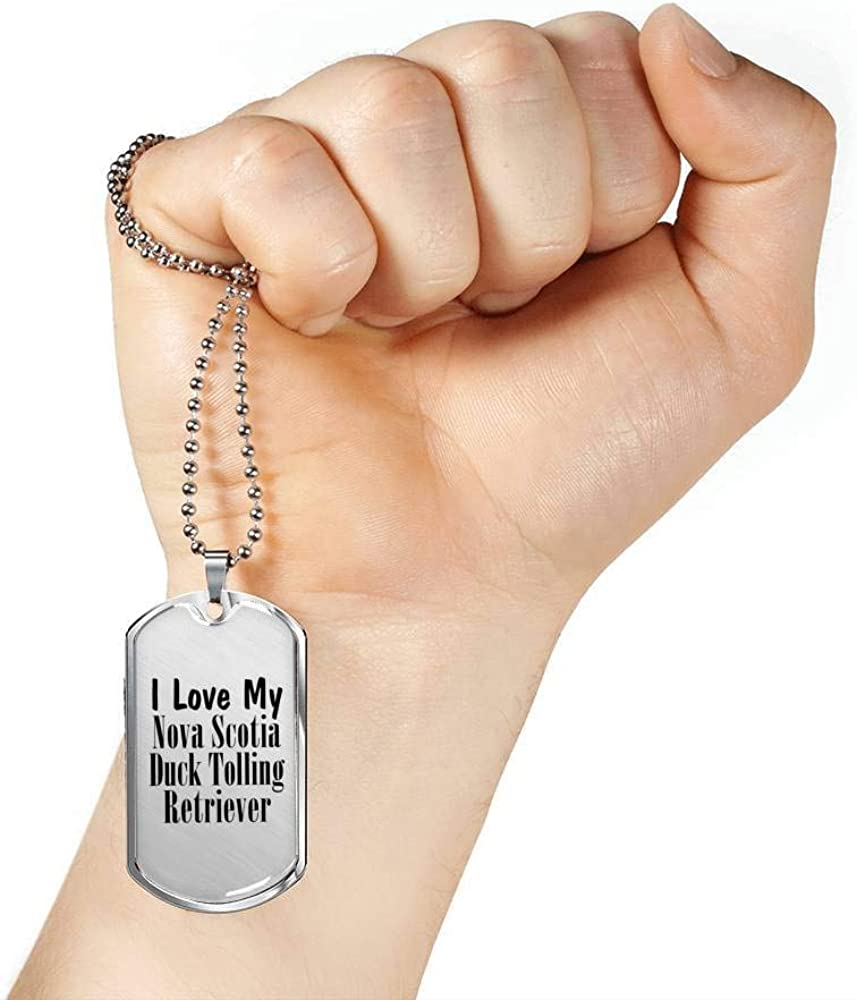 Luxury Dog Tag Necklace Lover Owner Mom Dad Gifts Love My Nova Scotia Duck Tolling Retriever