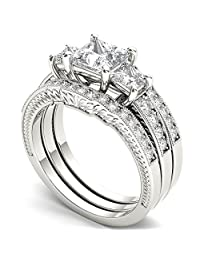 Dream Jewels 2.60 ct 3 Piece Lab Created Three Stone Cz Diamond Bridal Ring Set, Alloy in 14k White Gold Over Engagement Wedding Ring Set