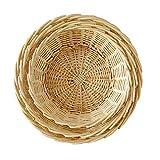 Fruit Bowl,Set of 3,Wicker Fruit Basket Bread Tray