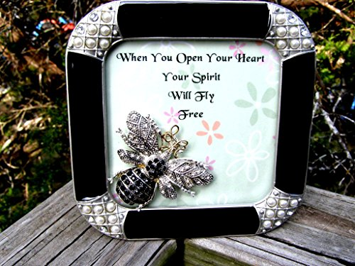 Artist Handmade Framed Jeweled Bee OPEN YOUR HEART Inspirational Art-Mixed Media, Collage-Friendship-Hope-Motivational-One of a Kind Art by Texas Woman Studio & Store