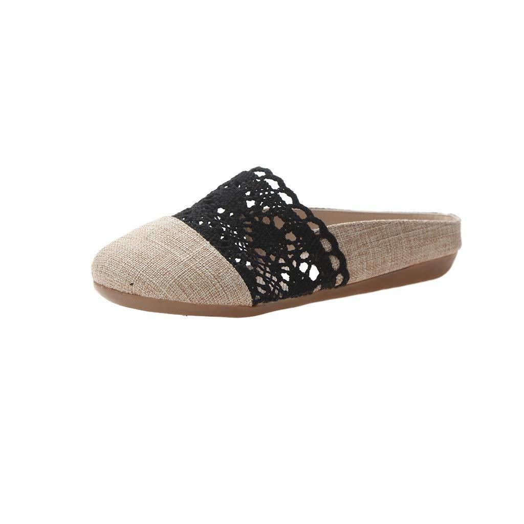 1046d04b14d65 Amazon.com: Wulofs Women Slip-on Shoe Flat Round Toe Lace Ballet ...