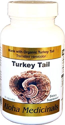 Organic Pure Turkey Tail (Trametes versicolor) by Aloha Medicinals - 90 Vegetarian (Coriolus Mushroom)