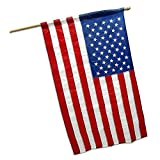 G128 6 Feet Tangle Free Spinning Flagpole (White) with American Flag with Pole Sleeve 210D Oxford nylon EMBROIDERED 3x5 ft American Flag with Pole Sleeve (Flag Included) Aluminum Flag Pole