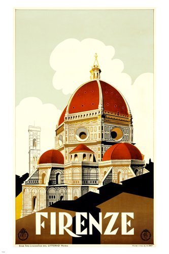 1930 Firenze italy Vintage Travel Poster for Enit old world decor
