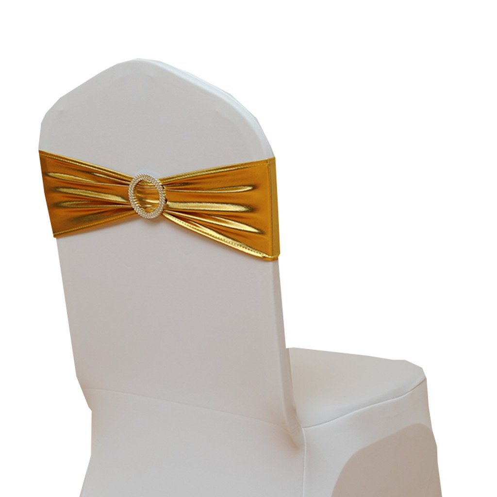 Fvstar Golden 20pcs Wedding Chair Sashes Gold Chairs Bows Elastic Chair Band with Buckle for Wedding Party Baby Shower