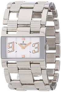 Festina F16326/5 - Reloj analógico de cuarzo para mujer con correa de acero inoxidable, color plateado